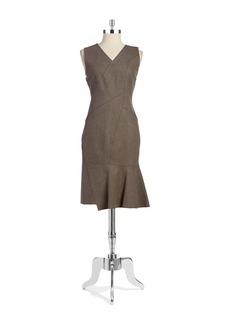 ELIE TAHARI Asymmetrical Seamed Sheath Dress