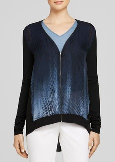 Elie Tahari Austen Mixed Media Cardigan