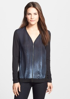 Elie Tahari 'Austen' Zip Front Mixed Media Blouse