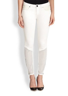 Elie Tahari Azella Mesh-Panel Jeans