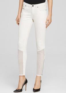 Elie Tahari Azella Mesh Panel Skinny Jeans in Fresh Pearl