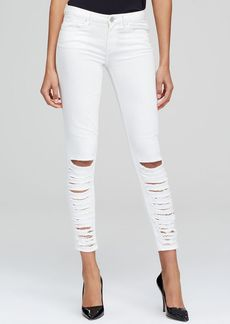 Elie Tahari Azella Shredded Skinny Jeans in Optic White
