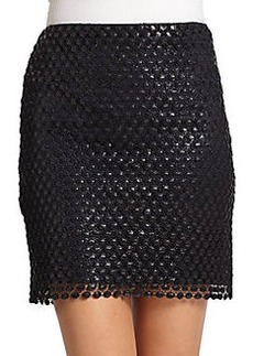 Elie Tahari Bennett Coated Lace Pencil Skirt
