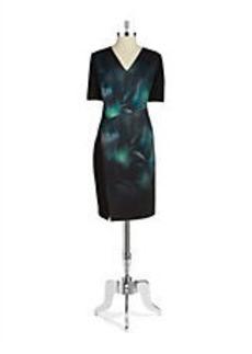 ELIE TAHARI Betsey Floral Scuba Sheath Dress