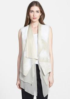 Elie Tahari 'Betsy' Draped Leather & Silk Vest