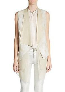 Elie Tahari Betsy Leather & Silk Vest