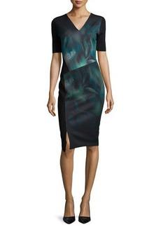 Elie Tahari Betsy Short-Sleeve Misty Bloom Printed Dress  Betsy Short-Sleeve Misty Bloom Printed Dress
