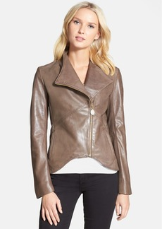 Elie Tahari 'Beverly' Curved Hem Leather Jacket