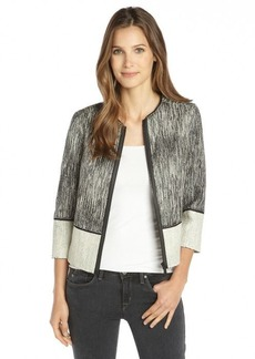 Elie Tahari black and white leather trimmed cotton tweed 'Paulina' jacket
