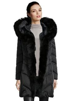 Elie Tahari black chevron quilted 'Bella' fox fur trimmed down jacket