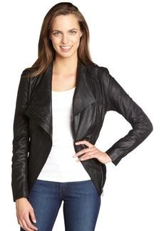 Elie Tahari black 'Constance' peplum leather jacket