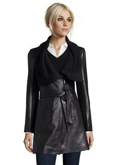 Elie Tahari black lambskin 'Alexandra' shawl collar belted jacket