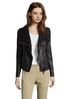 Elie Tahari black leather 'Andreas' asymmetrical zip jacket