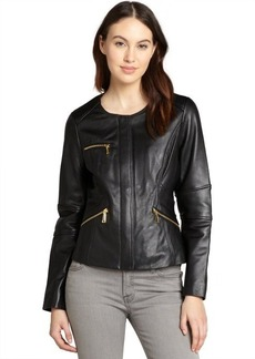Elie Tahari black leather 'Angelica' zip front jacket