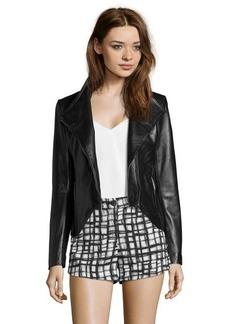 Elie Tahari black leather 'Beverly' asymmetrical zip jacket