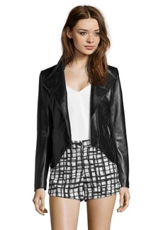 Elie Tahari black leather 'Beverly' asymmetrical zip jacket