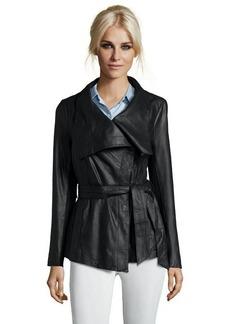 Elie Tahari black leather 'Claudette' drape front long sleeve jacket