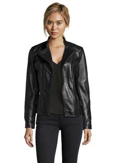 Elie Tahari black leather 'Delphine' double zip leather jacket