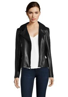Elie Tahari black leather notched lapel collar long sleeve jacket