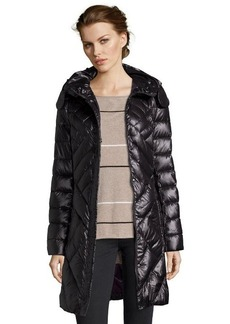 Elie Tahari black quilted 'Bianca' rabbit fur trim hooded down jacket