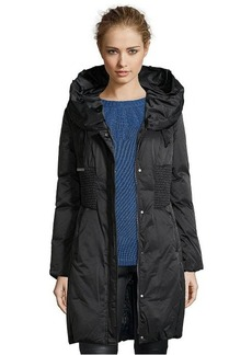 Elie Tahari black quilted 'Nina' rabbit fur trimmed down jacket