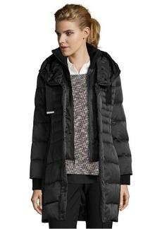 Elie Tahari black rabbit fur trimmed 'Paula' knit collar hooded coat