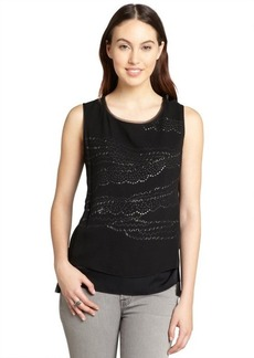Elie Tahari black silk and sequin sleeveless 'Jenna' blouse