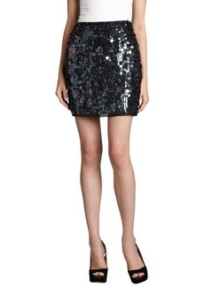 Elie Tahari black silk paillette covered 'Alexis' mini skirt