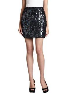 Elie Tahari black silk paillette covered 'Alexis' mini skirt