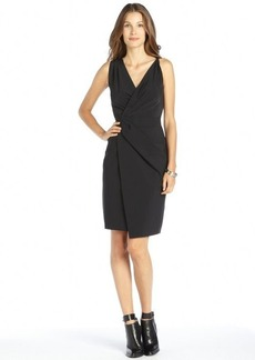 Elie Tahari black stretch crepe faux wrap pleated 'Vitra' sleeveless dress