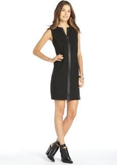 Elie Tahari black stretch woven leather trim zipper front 'Luanne' shift dress