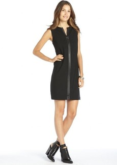 Elie Tahari black stretch woven leather trim zipper front 'Luanne' shift dress