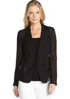 Elie Tahari black wool blend and leather trim woven lightweight 'Abby' blazer