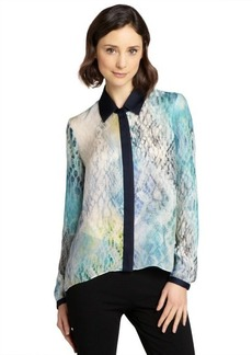 Elie Tahari blue and white silk long sleeved 'Chelsea' blouse