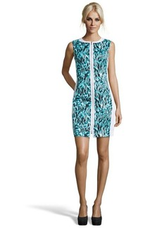Elie Tahari blue and white stretch cotton graphic print zip front 'Mila' dress