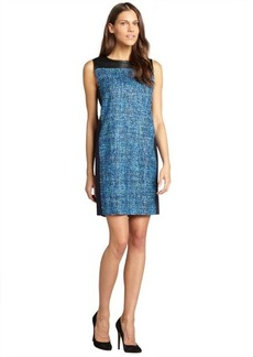 Elie Tahari blue tweed and lambskin detail 'Kellan' shift dress