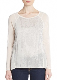 Elie Tahari Burnout-Pattern Raglan Top