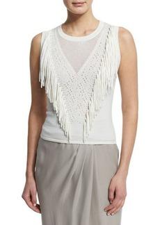 Elie Tahari Candace Sleeveless Fringe-Front Sweater  Candace Sleeveless Fringe-Front Sweater