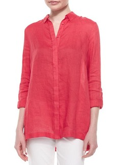 Elie Tahari Carly Linen Long-Sleeve Pleated-Back Blouse  Carly Linen Long-Sleeve Pleated-Back Blouse