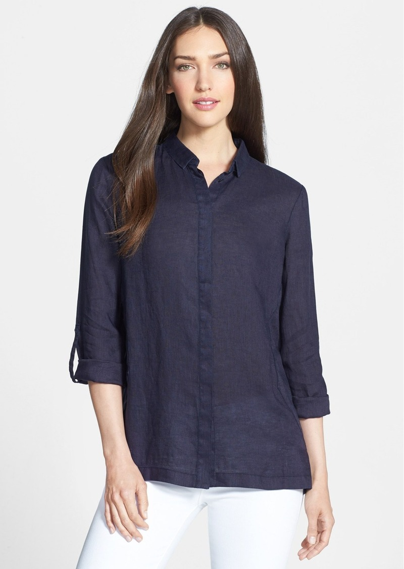 Elie Tahari 'Carly' Split Back Linen Blouse