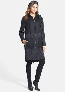 Elie Tahari 'Caroline' Mesh Detail Long Coat