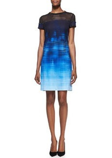 "Elie Tahari Cassie Mesh-Top ""Venue"" on Canvas-Print Dress"
