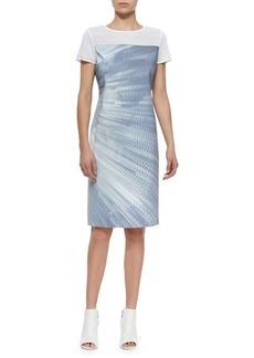 Elie Tahari Cassie Printed Sheath Dress W/ Mesh  Cassie Printed Sheath Dress W/ Mesh