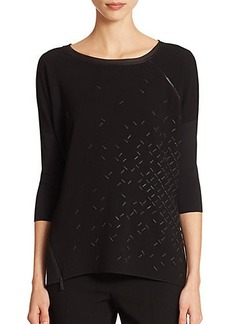 Elie Tahari Celeste Knit-Back Embellished Top