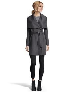 Elie Tahari charcoal double face wool 'Portland' wrap coat