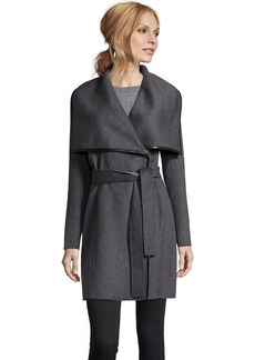 Elie Tahari charcoal double face wool 'Portland' wrap coat