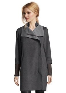 Elie Tahari charcoal wool blend 'Mika' asymmetrical zip coat