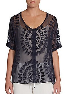 Elie Tahari Charity Burnout-Patterned Chiffon Top