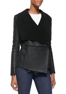 Elie Tahari Chase Leather Jacket W/ Shearling Fur Lapels