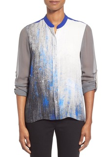Elie Tahari 'Chelsea' Colorblock Silk Roll Sleeve Blouse